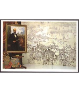 Фрагмент экспозиции музея в здании панорамы: портрет Ф. А. Рубо, копия эскиза панорамы