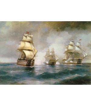 """И.К. Айвазовский. Бриг """"Меркурий"""", атакованный двумя турецкими кораблями. 1892"""