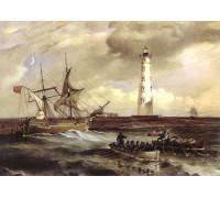Вильям Симпсон. Корабль, выброшенный на берег у Херсонесского маяка бурей 2 ноября 1854 г. 1856