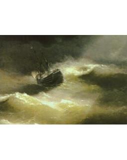 Корабль Мария во время шторма. 1892 г.