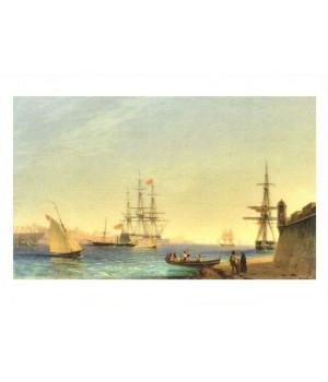 Порт Ла-Валетта на острове Мальта. 1844
