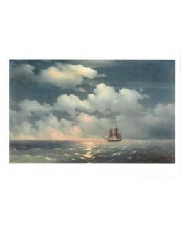 Бриг Меркурий после победы над двумя турецкими судами встречается с русской эскадрой. 1848
