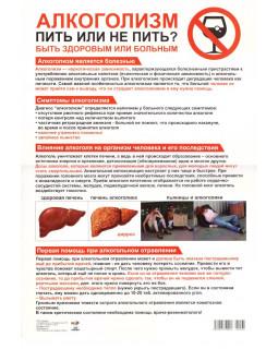 Плакат А3. Алкоголизм. Пить или не пить? Быть здоровым или больным