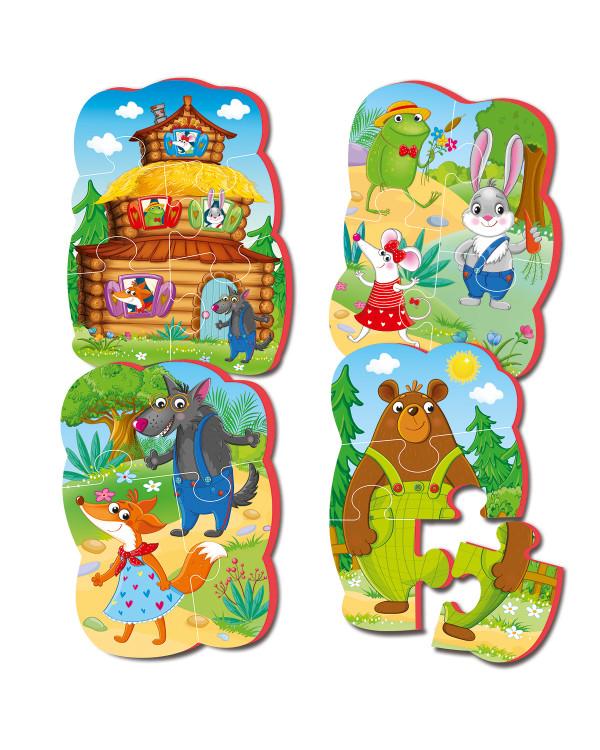 """Мягкие пазлы Baby puzzle Сказки """"Теремок"""" 4 картинки, 16 эл."""
