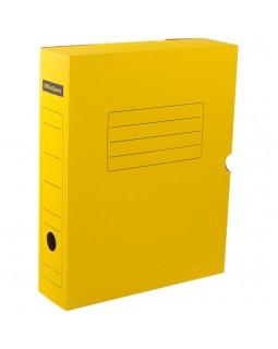 Короб архивный с клапаном OfficeSpace, микрогофрокартон, 75мм, желтый, до 700л.