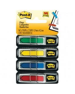 Флажки-закладки Post-it, 45*12мм, 24л*4 цвета, в индивидуальных диспенсерах