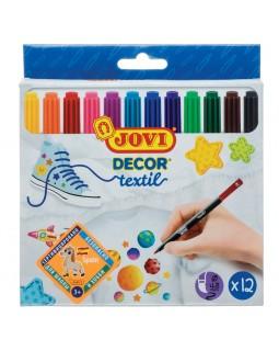 """Набор фломастеров для ткани JOVI """"Decor textil"""" 12цв., картон. уп., европодвес"""