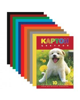Набор картона цветной 10л 10 цв. А4ф-Белый щенок-