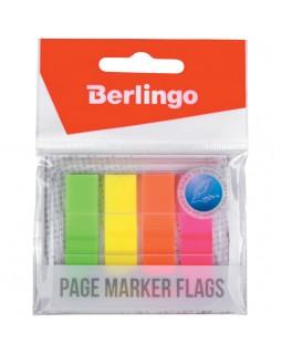 Флажки-закладки Berlingo 45*12 мм, 20л*4 неоновых цвета, в диспенсере