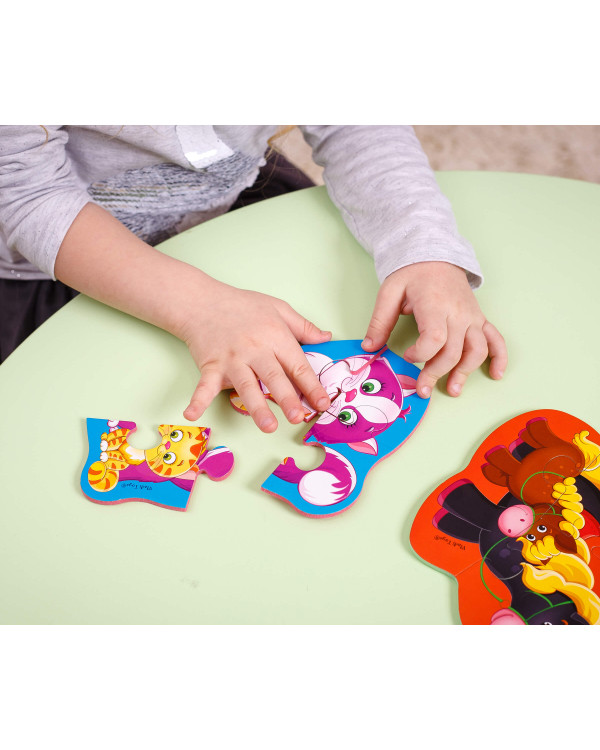 "Мягкие пазлы Baby Puzzle ""Мама и малыш"" 4 картинки, 12 эл."