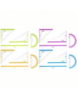 """Набор чертежный средний Berlingo """"Color"""" (треуг. 2шт, линейка 20см, транспортир), прозрачный"""