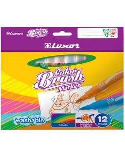 """Фломастеры с кистевым пишущим узлом Luxor """"Color Brush"""", 12цв., смываемые"""
