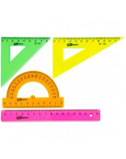 Набор чертежный малый ArtSpace, (треуг. 2шт., линейка 15см, транспортир), прозр. флуоресцентный