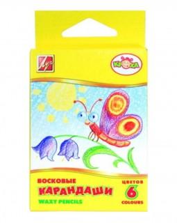Карандаши восковые Кроха трехгранные, 6 цветов