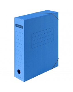 Папка архивная на резинках OfficeSpace, микрогофрокартон, 75мм, синий, до 700л.