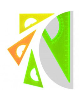 """Треугольник 30°, 16см Стамм """"NEON Crystal"""", с транспортиром, ассорти"""