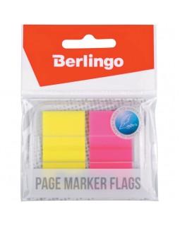 Флажки-закладки Berlingo 45*25мм, 20л*2 неоновых цвета, в диспенсере