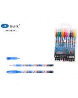 Ручки в наборе гель 10цв Астронавты ароматизированные с блестками