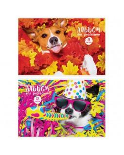 """Альбом для рисования 12л., А4, на скрепке ArtSpace """"Питомцы. Funny dogs"""", обложка-офсет"""