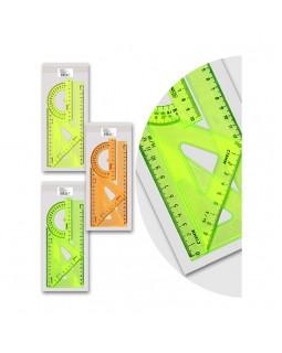 """Набор чертежный средний Стамм, (треуг. 2шт., линейка 20см, транспортир), """"Neon Cristal"""", ассорти"""