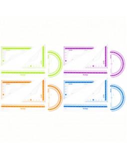 """Набор чертежный малый Berlingo """"Color"""" (треуг. 2шт, линейка 15см, транспортир), прозрачный"""