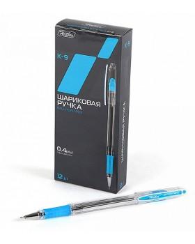 Ручка Hatber шариковая K-9 Синяя 0,4мм с колпачком и клипом с резиновым грипом