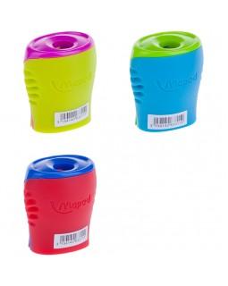 """Точилка пластиковая Maped """"Boogy"""", 1 отверстие, контейнер, ассорти"""