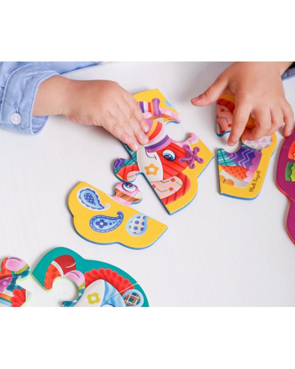 """Мягкие пазлы Baby Puzzle """"Чудо зоопарк"""" 4 картинки, 12 эл."""