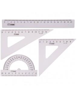 Набор чертежный средний Стамм, (треуг. 2шт., линейка 20см, транспортир), прозрачный бесцветный