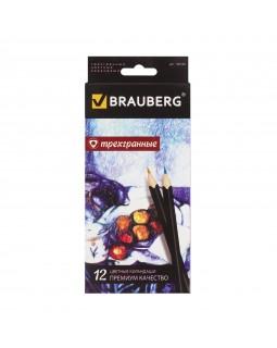 """Карандаши цветные Brauberg """"Artist line"""", 12 цв, трехгранные, черный корпус"""