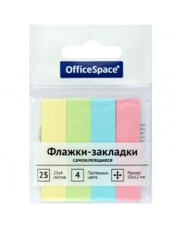 Флажки-закладки OfficeSpace, 50*12мм, 25л*4 пастельных цвета, европодвес