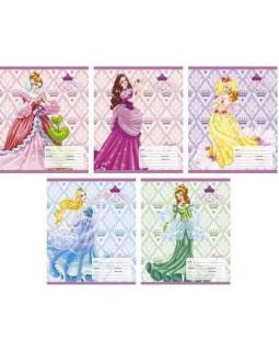 Тетрадь Милые принцессы 5 видов. 18 листов, Линия