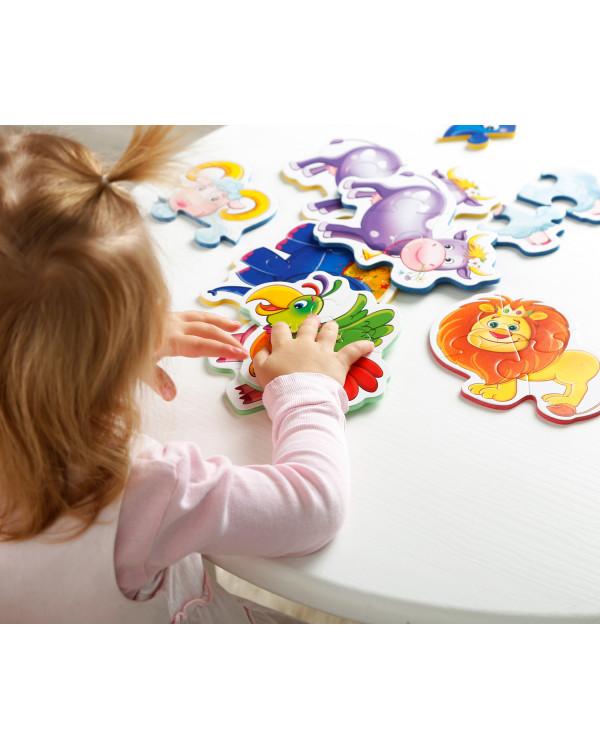 "Мягкие пазлы Baby puzzle ""Зоопарк"" 4 картинки, 18 эл."