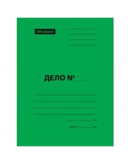 """Скоросшиватель OfficeSpace """"Дело"""", картон мелованный, 300г/м2, зеленый, пробитый, до 200л."""