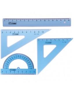 Набор чертежный малый Стамм, (треуг. 2шт., линейка 16см, транспортир), прозрачный тонированный