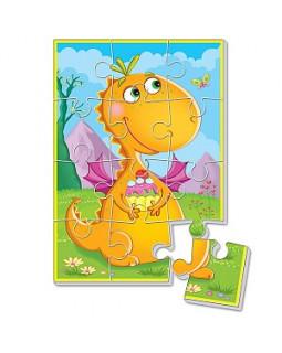 Мягкие пазлы Динозаврики А5 (Динозавр с пирожным)
