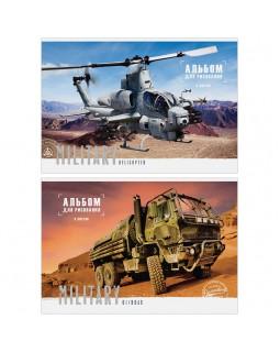 """Альбом для рисования 08л., А4, на скрепке ArtSpace """"Техника. Military"""", обложка-офсет"""