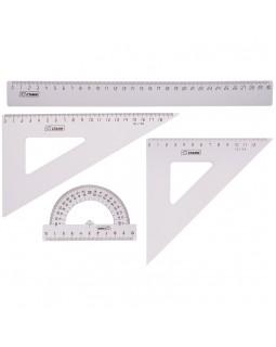 Набор чертежный большой Стамм, (треуг. 2шт., линейка 30см, транспортир), прозрачный бесцветный
