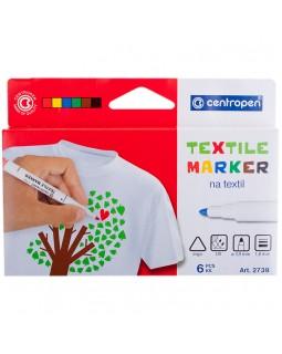 """Набор маркеров для ткани Centropen """"Textil Marker 2739"""" 06цв., 1,8мм, картон. уп., европодвес"""