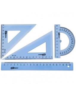 Набор чертежный средний ArtSpace, (треуг. 2шт., линейка 20см, транспортир), прозр. тонированный