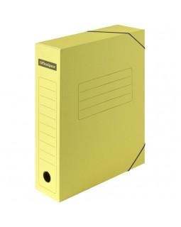 Папка архивная на резинках OfficeSpace, микрогофрокартон, 75мм, желтый, до 700л.