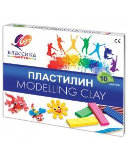 """Пластилин классический ЛУЧ """"Классика"""", 10 цв., 200г, со стеком, картонная упаковка"""