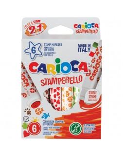 """Фломастеры-штампы двусторонние Carioca """"Stamp Markers"""", 06цв., смываемые"""