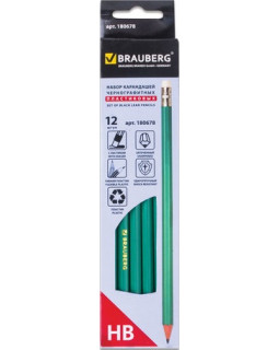 Карандаши чернографитные BRAUBERG набор 12 шт., зеленый корпус