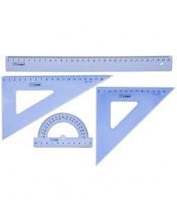 Набор чертежный большой Стамм, (треуг. 2шт., линейка 30см, транспортир), прозрачный тонированный