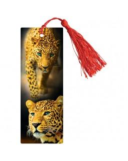 """Закладка для книг 3D с линейкой, 150*55мм, ArtSpace """"Леопард"""", декоративный шнурок"""