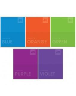 """Тетрадь 40л., А5, клетка ArtSpace """"Моноколор. Яркие цвета"""""""