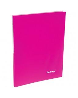 """Папка c зажимом Berlingo """"Neon"""", 17мм, 700мкм, неоновая розовая"""