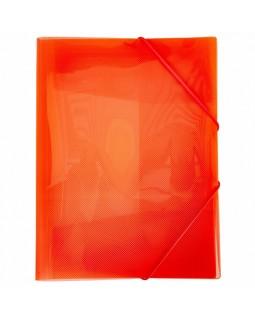 Папка Пластиковая Hatber А4ф на резинке LINE Красная полупрозрачная
