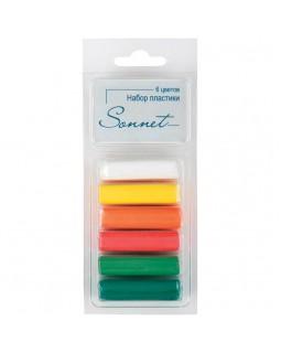 """Набор пластики для лепки Сонет """"Фруктовые цвета"""", 06цветов, 120г, блистер"""